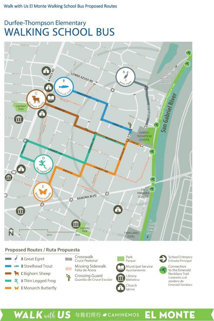 Durfee Thompson Walking School Bus Map